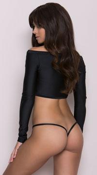 Clip Y Back Thong - Wet Black