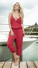 Casual Red Jumpsuit - Red