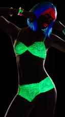 Glowing Desire Lace Bra Set - Neon Green