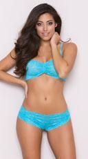 Glowing Desire Lace Bra Set - Turquoise