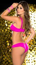 Neon Glow Scrunched Bra Top Set - Hot Pink