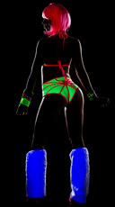 Caught in Your Web Bra Top Set - Hot Pink/Neon Green