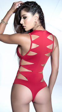 Sculpted Cut-Out Bodysuit - Red