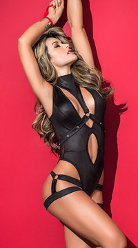 Harnessed Hottie Bodysuit - Black
