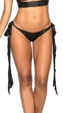 Wet Look Basic Long Tie Panty - Wet Black