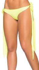 Wet Look Basic Long Tie Panty - Wet Green