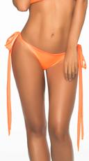 Wet Look Basic Long Tie Panty - Wet Orange