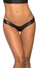 Wide Side Straps Scrunch Thong - Wet Black
