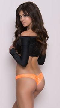 Wide Side Straps Scrunch Thong - Wet Orange