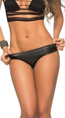 Wet Look Scrunch Back Bikini Panty - Wet Black