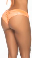 Wet Look Scrunch Back Bikini Panty - Wet Orange