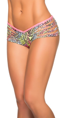 Party Girl Slashed Boyshort Panty - Cheetah