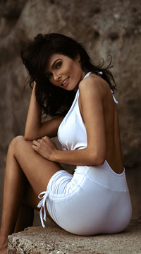 Low Cut Cinched Mini Dress - White
