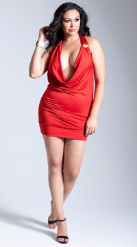 Plus Size Deep-V Front Party Dress - Red