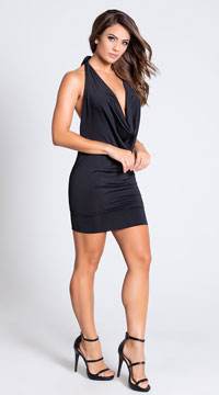 Deep Cowl Neck Party Dress - Black