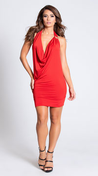 Deep Cowl Neck Party Dress - Red
