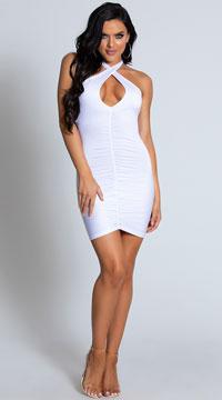 Criss Cross Keyhole Mini Dress - White