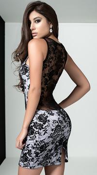 Plunging Lace Mini Dress - Black/White
