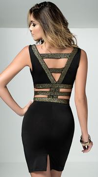 Braided Metallic Gold Dress - Black