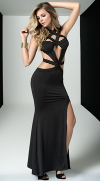 Black Cage Gown - Black