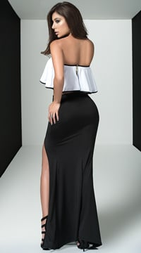 Feminine Top and Skirt Set - Black/White