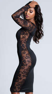 Romantic Black Lace Dress - Black