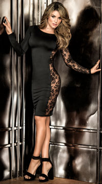 Romantic Black Lace Dress - Black
