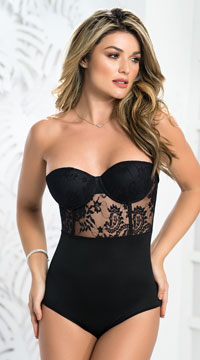 Delicate Lace Teddy with Maxi Skirt - Black