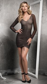 Center Cinch Club Dress - Black/Nude