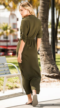 The Tricia Shirt Dress - Olive