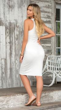 Sexy Snap Tank Dress - Ivory