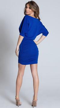 Classic Short Sleeve Mini Dress - Blue