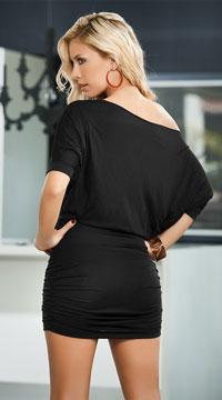 Classic Short Sleeve Mini Dress - Black