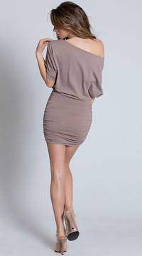 Classic Short Sleeve Mini Dress - Mocha