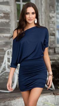 Classic Short Sleeve Mini Dress - Navy