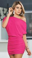 Classic Short Sleeve Mini Dress - Hot Pink