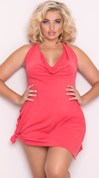 Plus Size Side Tie Halter Dress - Coral