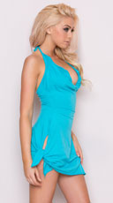 Side Tie Halter Dress - Turquoise