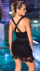 Criss-Cross Lace Mini Dress - Black/Black