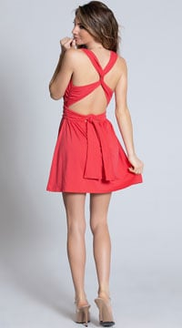 Deep V-Neck Tie Dress - Coral