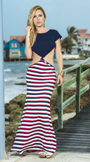 T-Shirt Maxi Dress with Striped Skirt - Navy