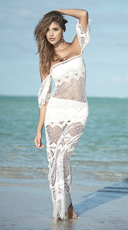 Three Piece Crochet Beach Set - Ivory