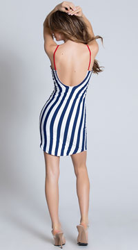 Striped Navy Sun Dress - Navy