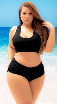 Plus Size Ibiza Sporty Two Piece Swimsuit -  - Black