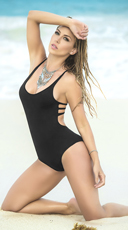 Strappy Racerback One Piece Swimsuit - Black