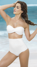 High Waisted Twisted Bandeau Bikini - as shown