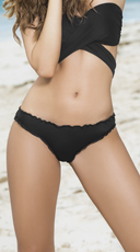 Ruffled Hipster Bikini Bottom - Black