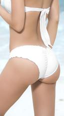 Ruffled Hipster Bikini Bottom - White