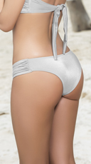 Ruched Hipster Bikini Bottoms - Silver
