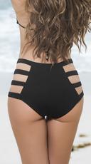 Strappy High-Waisted Bikini Bottom - Black